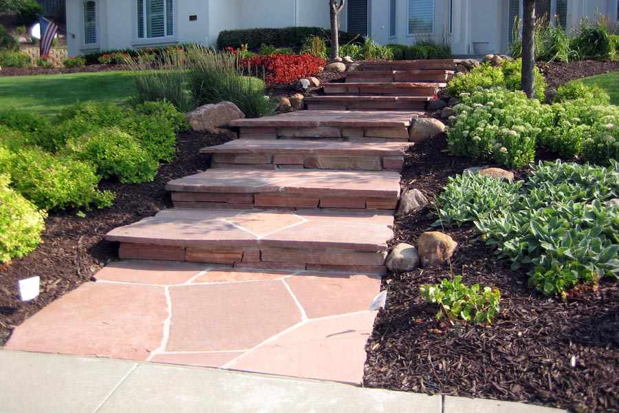 Colorado red flagstone entry